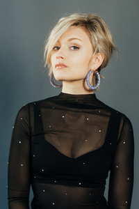 2160x3840 Blonde Girl Black Dress 5k