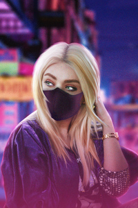 750x1334 Blonde Girl Green Eyes With Mask 4k