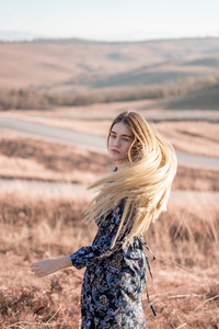 Blonde Girl Hairs In Air 4k