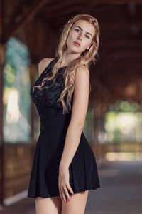 540x960 Blonde Girl In Black Dress