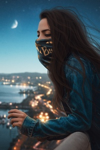 1080x2280 Blonde Girl Mask