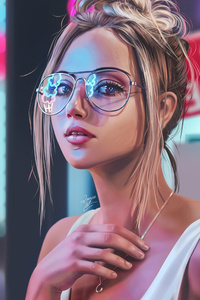 Blonde Girl Neon Digital Art 4k