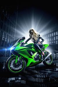 320x568 Blonde Girl On Bike