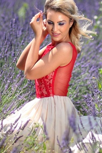 1440x2560 Blonde Girl Red Dress Lavender Field 4k