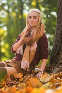 Blonde Girl Sitting Autumn 4k