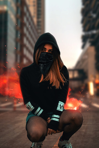 1080x2280 Blonde Girl Sitting Face Covered 4k