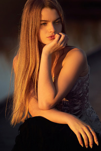 Blonde Girl Sitting Sunrays On Face 4k