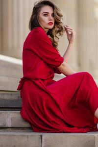 640x1136 Blonde Girl Swirl Hairs Red Dress Sitting On Stairs