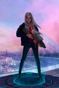 750x1334 Blonde Girl With Gun Science Ficiton