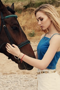 Blonde Girl With Horse 5k