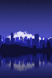 Blue Cityscape Minimalist