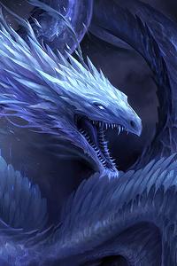 Blue Crystal Dragon 4k