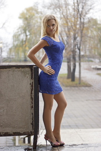 320x480 Blue Dress Girl Outdoor