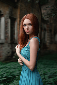 640x960 Blue Dress Red Hair 4k