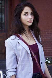 1080x1920 Blue Eyes Beautiful Girl White Jacket 5k