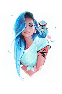 Blue Eyes Blue Hair Girl With Owl