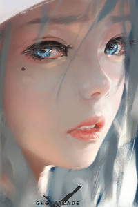 Blue Eyes Face Girl In Hood