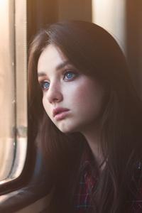 1080x2280 Blue Eyes Girl Looking Outside Window 5k
