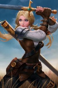 Blue Eyes Girl Sword Woman Warrior