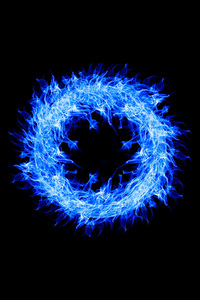 1242x2688 Blue Fire Ring 4k