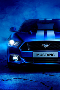 640x1136 Blue Ford Mustang