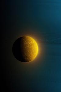 1080x2280 Blue Gas Giant Planet Little Moon 4k