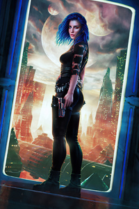 360x640 Blue Hair Girl Scifi City With Guns In Hand 5k