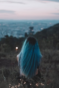 360x640 Blue Hair Sitting On Grass Field Back View 5k