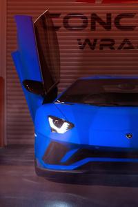 Blue Lamborghini Aventador 2019 4k