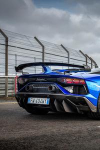 2160x3840 Blue Lamborghini Aventador 2020