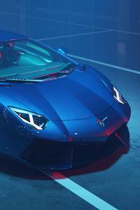 2160x3840 Blue Lamborghini Aventador Dione Forged Cgi 4k