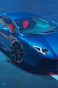 Blue Lamborghini Aventador New