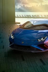 1125x2436 Blue Lamborghini Huracan Rear 4k