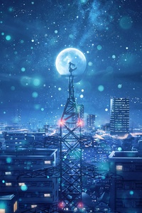 Blue Night Big Moon Anime Scenery 4k