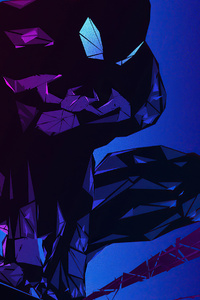 1280x2120 Blue Polygon Spiderman 4k