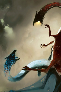 1080x1920 Blue Red Fantasy Dragon 4k