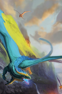 Blue Red Flame Dragons 4k