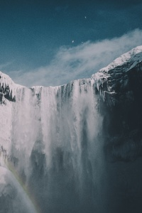 1080x2280 Blue Sky Waterfall Snow Iceland Mountains