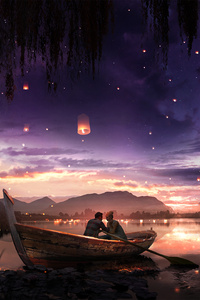 640x1136 Boat Couple Dreamy Painting Lake Lantern