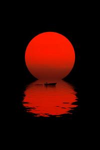 1440x2560 Boat Dark Sunset 5k