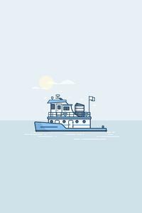 320x480 Boat Minimal 4k