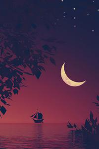 Boat Moon Minimal Landscape 5k