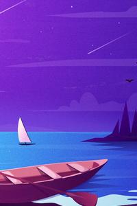 Boat Night Scenery Minimalist