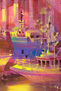 240x320 Boat Port Glitch Art 4k