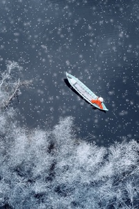 1080x1920 Boat Snow Winter Aerial View