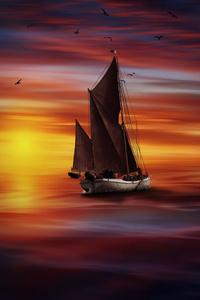 Boat Sunlight Sea Colorful
