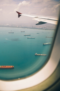 Boats Sea View From Airplane Window
