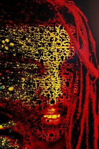 1242x2688 Bob Marley Mask Abstract Artwork 4k