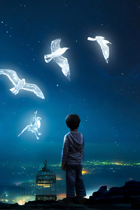 1280x2120 Boy Child Freeing Birds