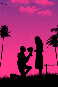 1080x2280 Boy Kneeling Down Giving Flowers To Girl
